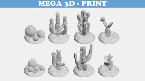 Tabletop Miniatures - Sand Desert Cactus Package 3D print model