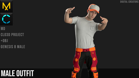 Male Outfit. Marvelous Designer / Clo 3D project +obj