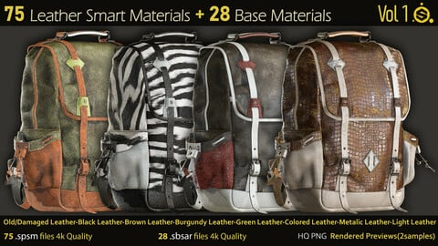 75 Leather Smart Materials+28 Base Materials-Substance Painter