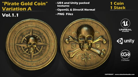 Pirate Gold Coin and Stack - Variant A