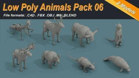 Low Poly 3d Animals Isometric Icon Pack 06