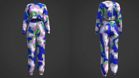 3D ActiveWear set - Tie Dye women Tracksuit
