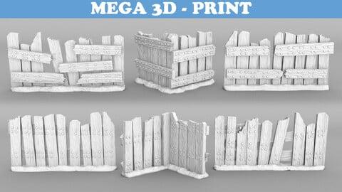 Tabletop Miniatures - Wooden Fence Modulars 3D print model