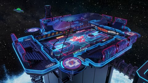Futuristic  Scifi Space Basketball court