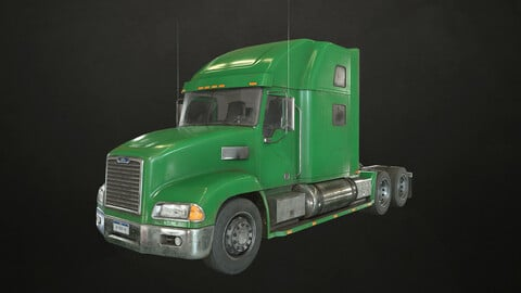 Semi Truck Tractor - Green - Low Poly