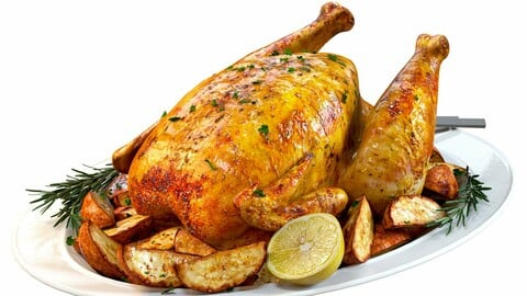 3D Model / Food Set 01 / Roasted Chicken with Potatoes and Rosemary