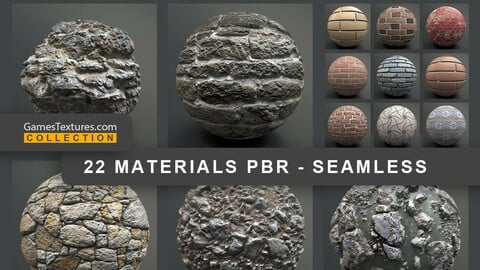 22 Wall, Stone COLLECTION OF PBR MATERIALS IN ONE PACK GamesTextures.com