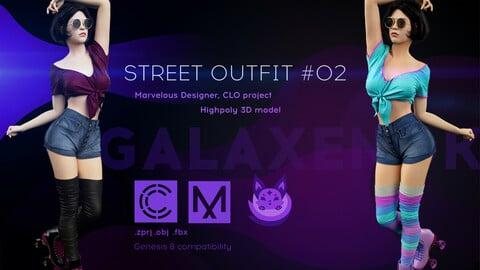Female Street Outfit #2. Avatar genesis 8 Female. Marvelous Designer, Clo3d project. 4K PBR Textures. .OBJ.FBX files