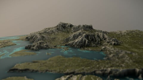 Grassy Mountains with Lakes