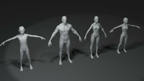 Human Body Base Mesh 3D Model Family Pack 10k Polygons