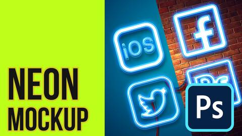 Free Neon Mockup Photoshop