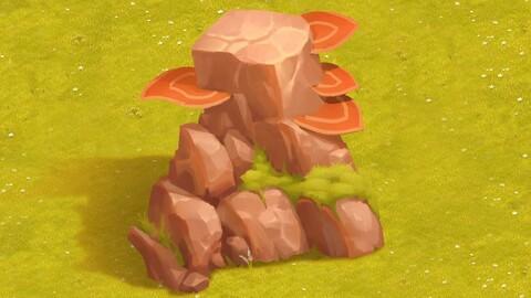 单个石头的画法