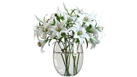 3D Model / Flower Set 01 / White Lilies