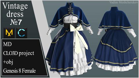 Vintage Dress №7. Clo 3D / Marvelous Designer project +obj/fbx