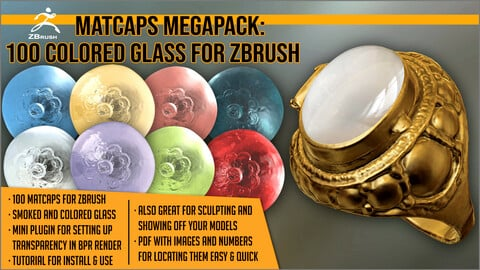 Matcaps Megapack: 100 Colored Glass For ZBrush