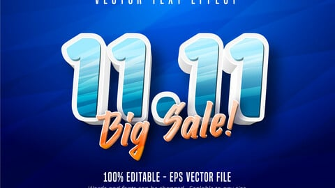 11.11 big sale text, cartoon style editable text effect