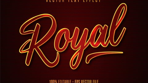 Royal text, gold and red color style editable text effect