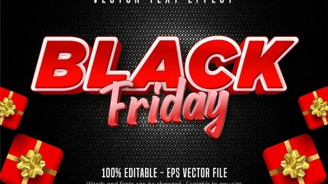 Black Friday text, cartoon style editable text effect on gift boxes and dark background