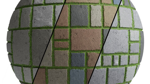 Grass Stone Materials2- By 3 Color, Pbr By Sbsar, 4K