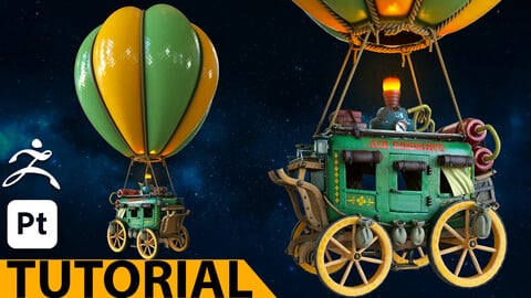 Air Carriage - 12h video tutorial - ZBrush - Substance 3D Painter
