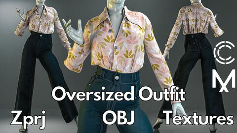 Marvelous Designer + Clo3d + OBJ + Texture : Oversized outfit