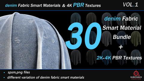 30 Denim Fabric Smart Material Bundle + 4K PBR Texture_VOL_01