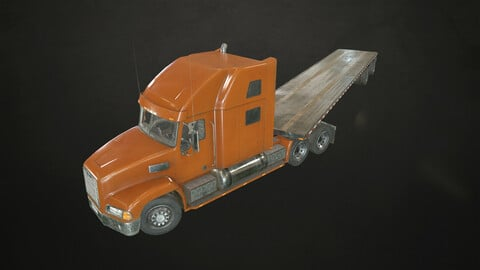 Semi Truck Flatbed Trailer - Low Poly