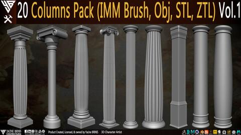 20 Columns Pack (IMM Brush, Obj, STL, ZTL) Vol.1