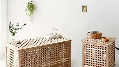 NETUD wooden storage tables