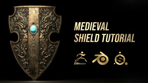 FREE Modeling and texturing shield in blender, zbrush, substance painter | tutorial + files