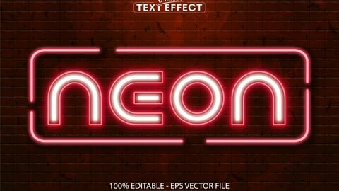 Neon text, neon style editable text effect on brick wall background