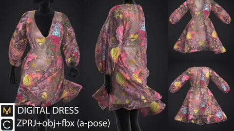 Digital dress/ ZPRJ+OBJ+FBX (a-pose)/ marvelous designer