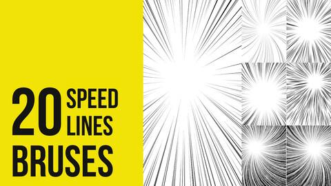 Comic and manga speedlines BRUSHES for Photoshop