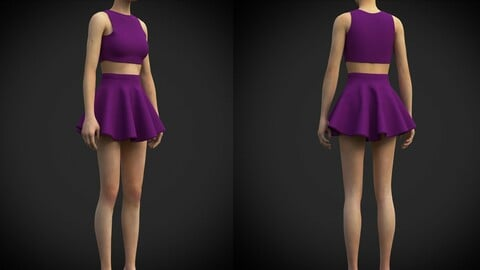 Female table tennis outfit - 3D tennis clothing