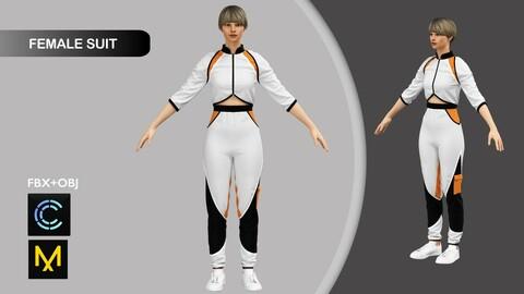 Female Sport Suit Marvelous Designer/Clo3d project + OBJ + FBX