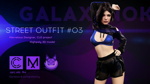 Female Street Outfit. Avatar genesis 8 Female. Marvelous Designer, Clo3d project. 4K PBR Textures. .OBJ.FBX files
