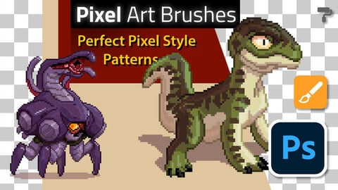 Pixel Art Brushes, Patterns & Style for Photoshop
