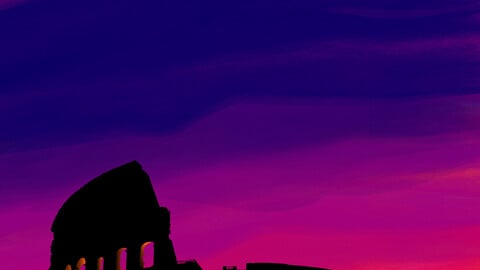 Colosseum, Rome, Italy, print art.