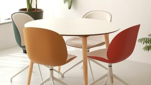 HPM Melamine Round White Dining Table 1100