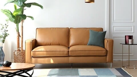 Baum Natural Cotton Leather 3 Seater Sofa