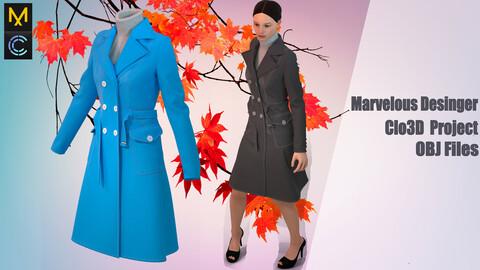 Autumn coat ,Marvelous Desinger,Clo3D Project + OBJ File