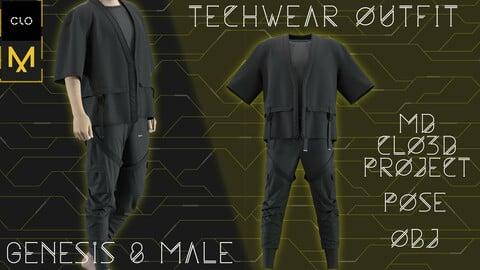 Male Techwear outfit. Clo3d/Marvelous designer. Zprj/Obj/Pose