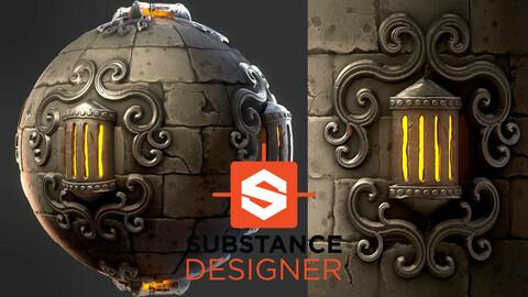 Stylized Steampunk Wall - Substance Designer