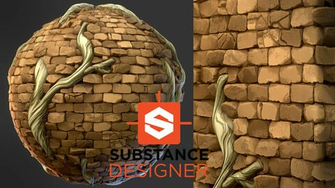 Stylized Bricks with Roots - Substance Designer