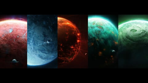 Planets pack 5 in one (.blend .PSD).