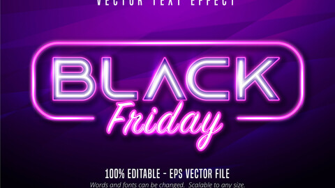 Black Friday text, neon style editable text effect