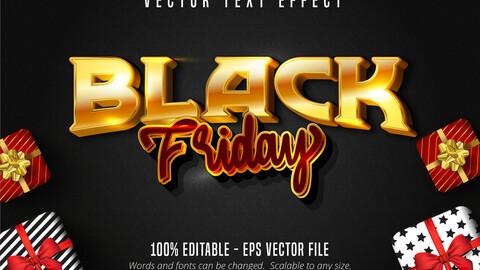 Black Friday text, shiny golden style editable text effect