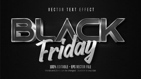 Black Friday text, silver color style editable text effect