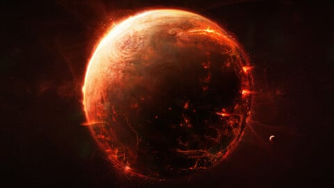 Fiery planet (.blend .PSD).