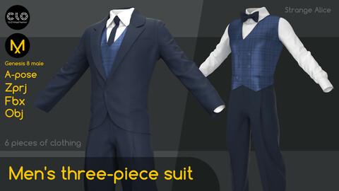Men's three-piece suit. Clo3d, Marvelous Designer projects.